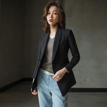 芝美日ha 三醋酸一lo长式黑色(小)西装外套女职业休闲收腰春秋