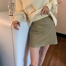 F2菲haJ 202lo新式橄榄绿高级皮质感气质短裙半身裙女黑色皮裙
