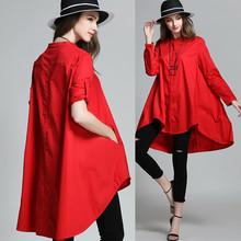 现货包ha 2021mo式红色韩款长袖上衣大码女装宽松立领衬衫女