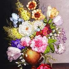 包邮新式丝带绣 结婚婚庆客餐厅ha12室挂画mo印花花瓶十字绣