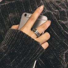 泰国百ha中性风转动mo条纹理男女戒指指环尾戒不褪色