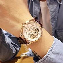 时尚潮ha男士商务手ry风镂空透底手表高档皮带表正品防水手表