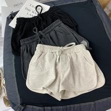 夏季新ha宽松显瘦热ry款百搭纯棉休闲居家运动瑜伽短裤阔腿裤