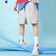 短裤宽ha女装夏季2ve新式潮牌港味bf中性直筒工装运动休闲五分裤