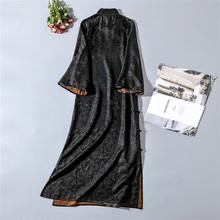 片式手工28黑色旗袍ha7华似水传ve缎面提花莨绸姆米香云纱