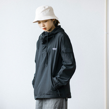 Epihasocotea装日系复古机能套头连帽冲锋衣 男女同式薄夹克外套