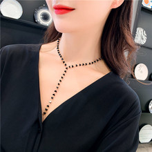 韩国春ha2019新wd项链长链个性潮黑色水晶(小)爱心锁骨链女