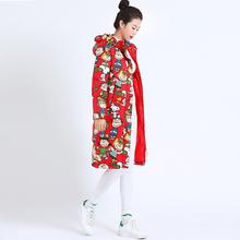202ha新式卡通印at比可爱中长式甜美羽绒服(小)个子修身冬季外套
