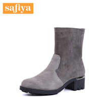 Safhbya/索菲qc商场同式绒面羊皮圆头粗跟短筒女靴SF84116059