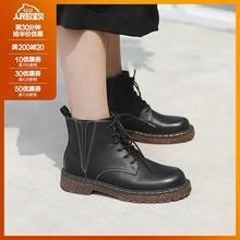 MAShbOMAKEbn典式 英伦风复古圆头系带短靴女厚底黑色马丁靴子