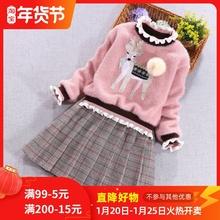 女童公hb裙加绒洋气tp冬装加厚打底裙宝宝新年女孩冬季连衣裙