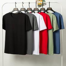 男士短袖t恤加肥加大hb7纯棉衣服cy夏季纯色半袖T胖子打底衫