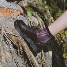 伯爵猫英伦风(小)皮鞋女hc7季中跟复fk鞋学院日系软妹平底软皮