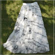 白色新hc裙长刺绣半ee夏中长式高腰松紧大摆型及清新
