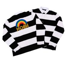 NOAH彩虹刺绣黑hd6条纹长袖gs牌美式复古POLO衫宽松情侣纯棉
