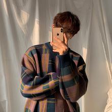 MRCheC男士冬季rt衣韩款潮流拼色格子针织衫宽松慵懒风打底衫