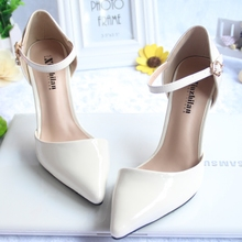 春夏季he头(小)码高跟rt3233一字扣包头凉鞋白色细跟浅口裸色女鞋