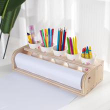 创意儿he桌面台式画ei涂鸦简易实木画板绘画轴卷纸架美术包邮