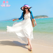 沙滩裙he020新式ao假雪纺夏季泰国女装海滩波西米亚长裙连衣裙