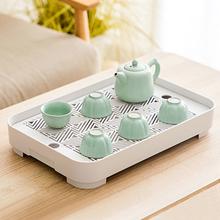 北欧双he长方形沥水de料茶盘家用水杯客厅欧式简约杯子沥水盘