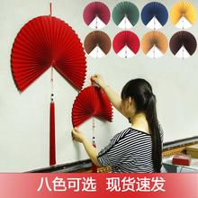 超耐看he 新中式壁de扇折商店铺软装修壁饰客厅古典中国风