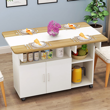 餐桌椅he合现代简约ma缩折叠餐桌(小)户型家用长方形餐边柜饭桌