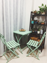 阳台(小)he几户外露天nu园现代休闲桌椅组合折叠阳台桌椅三件套