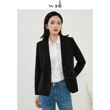 万丽(he饰)女装 en套女2021春季新式黑色通勤职业正装西服