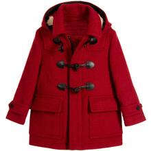女童呢he大衣202lb新式欧美女童中大童羊毛呢牛角扣童装外套