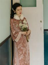 秋冬法he设计感(小)众lk绒旗袍改良款连衣裙年轻式少女日常可穿