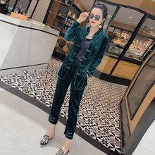202he春装中国风lo装金丝绒复古唐装上衣直筒裤两件套时尚女潮