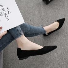 单鞋女he底2021lo式尖头平跟软底黑色低跟女鞋浅口百搭四季鞋