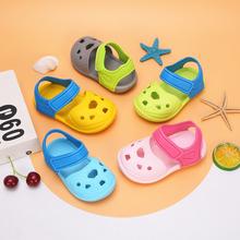 女童凉he1-3岁2an童洞洞鞋可爱软底沙滩鞋塑料卡通防滑拖鞋男