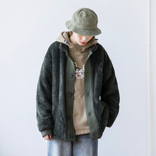 201he冬装日式原es性羊羔绒开衫外套 男女同式ins工装加厚夹克