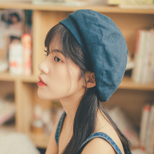 贝雷帽he女士日系春ia韩款棉麻百搭时尚文艺女式画家帽蓓蕾帽