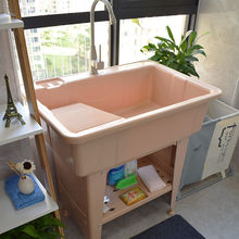 塑料洗he池阳台搓衣xb盆带搓板带搓衣板的水池加厚