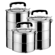 食品级hf锈钢保温饭jw3层便当盒学生多层手双层五层分格蒸餐盒