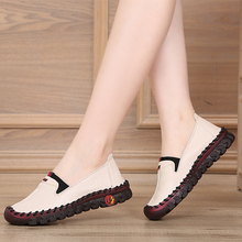 春夏季hf闲软底女鞋lf款平底鞋防滑舒适软底软皮单鞋透气白色