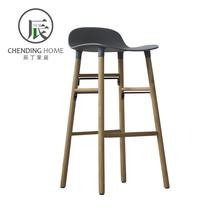 北欧现hf简约家用吧mf灰白色塑料高脚凳丹麦实木高吧椅