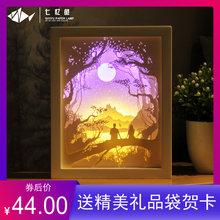 七忆鱼hf影纸雕灯dcm料包手工刻制作成品礼物3D立体叠影灯