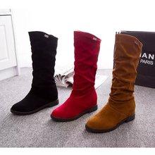 202hf中筒靴女靴cm新式低跟内增高平底韩款套筒骑士靴女鞋子潮