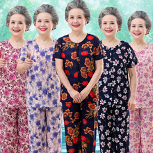 中老年hf夏装套装女cx妈妈装夏天上衣服装70老的60岁80奶奶装