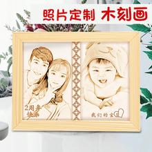 照片定hf木刻画刻字fg纪念结婚周年女友生日礼物老公创意企业