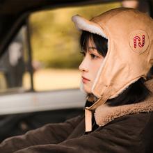 【探险hf】麂皮绒复lf加厚防风护耳雷锋帽飞行员帽子~
