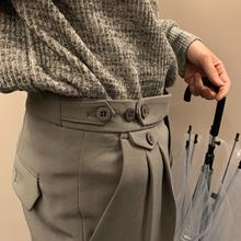 CCJhf秋季男士西hj款修身九分裤子休闲(小)西裤坠垂感黑色西装裤