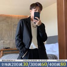ONEhfAX秋冬新xi黑色帅气(小)西装潮男女单排扣宽松绅士西服外套