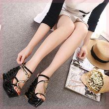 潮20hf8新式14xi分高跟坡跟凉鞋女夏季防水台夜店性感露趾罗马鞋