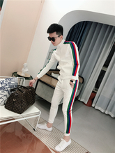 卫衣套hg春季202zh男士运动休闲套装情侣式卫衣彩条长裤两件套