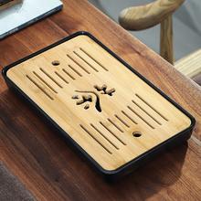 豪祥竹hh茶盘家用简6d(小)茶台密胺干泡竹托盘圆形功夫茶具储水