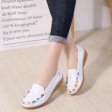 201hh护士鞋女软dw鞋女新式中年平底鞋女式皮鞋真皮妈妈鞋单鞋